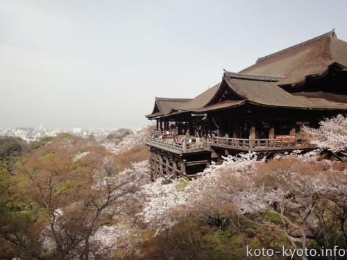 春の清水寺。桜の名所としても知られている